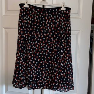 Etcetera navy skirt with red and silver polka dots